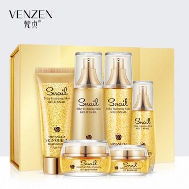 Подарочный набор Venzen Silky Hydrating Skin GOLD SNAIL, с муцином улитки и нано-золотом, 6 средств