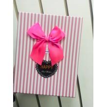 Коробка подарочная (розовая полоска)